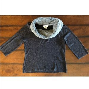 Kathy Ireland Cowl Neck Pullover Sweater L 3/4 Sle